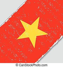flag., wektor, grunge, illustration., vietnamese