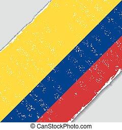 flag., wektor, grunge, kolumbijczyk, illustration.