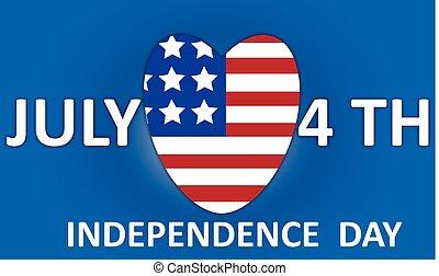 flag., wektor, usa, dzień niezależności