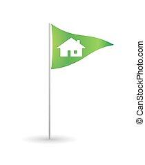 Flag with a house