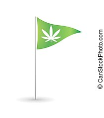 Flag with a marijuana leaf