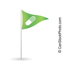 Flag with a pill