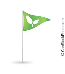Flag with a plant