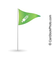 Flag with a syringe
