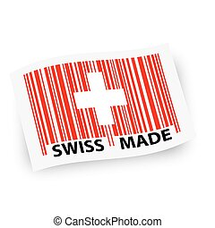 Flag with barcode -  SWISS MADE