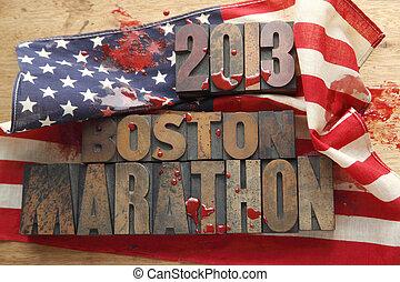 flag with Boston Marathon words