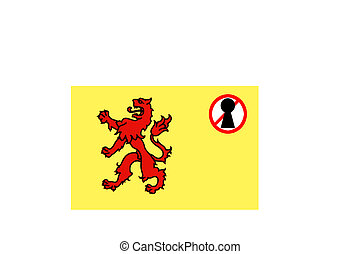 flag with a lockdown warning of ZUID HOLLAND