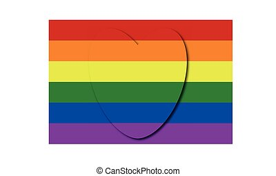Flag with gay pride colors painted