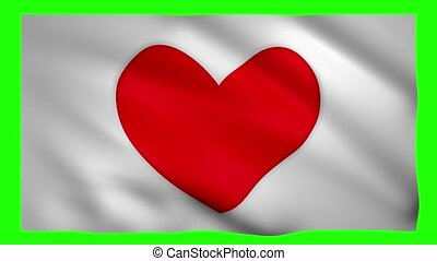 Flag with red heart symbol on green screen