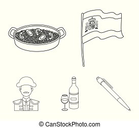 Flag with the coat of arms of Spain, a national dish with rice and tomatoes, a bottle of wine with a glass, a bullfighter, a matador. Spain country set collection icons in outline style vector symbol stock illustration web.