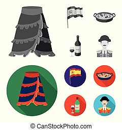 Flag with the coat of arms of Spain, a national dish with rice and tomatoes, a bottle of wine with a glass, a bullfighter, a matador. Spain country set collection icons in monochrome, flat style vector symbol stock illustration web.