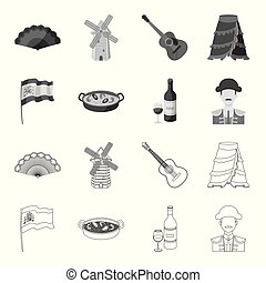 Flag with the coat of arms of Spain, a national dish with rice and tomatoes, a bottle of wine with a glass, a bullfighter, a matador. Spain country set collection icons in outline, monochrome style vector symbol stock illustration web.