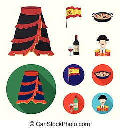 Flag with the coat of arms of Spain, a national dish with rice and tomatoes, a bottle of wine with a glass, a bullfighter, a matador. Spain country set collection icons in cartoon, flat style vector symbol stock illustration web.