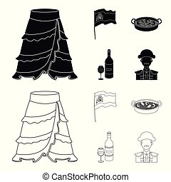 Flag with the coat of arms of Spain, a national dish with rice and tomatoes, a bottle of wine with a glass, a bullfighter, a matador. Spain country set collection icons in black, outline style vector symbol stock illustration web.