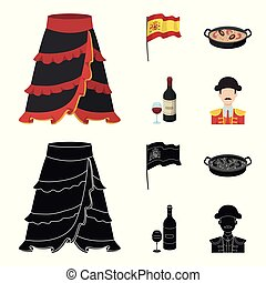 Flag with the coat of arms of Spain, a national dish with rice and tomatoes, a bottle of wine with a glass, a bullfighter, a matador. Spain country set collection icons in cartoon, black style vector symbol stock illustration web.
