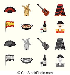 Flag with the coat of arms of Spain, a national dish with rice and tomatoes, a bottle of wine with a glass, a bullfighter, a matador. Spain country set collection icons in cartoon, monochrome style vector symbol stock illustration web.