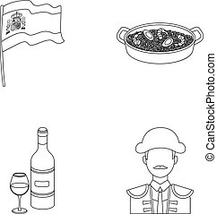Flag with the coat of arms of Spain, a national dish with rice and tomatoes, a bottle of wine with a glass, a bullfighter, a matador.