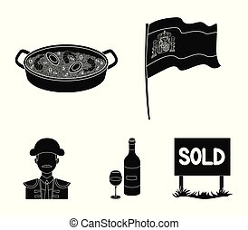 Flag with the coat of arms of Spain, a national dish with rice and tomatoes, a bottle of wine with a glass, a bullfighter, a matador. Spain country set collection icons in black style vector symbol stock illustration web.