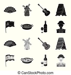 Flag with the coat of arms of Spain, a national dish with rice and tomatoes, a bottle of wine with a glass, a bullfighter, a matador. Spain country set collection icons in black, monochrome style vector symbol stock illustration web.