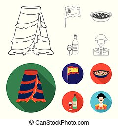 Flag with the coat of arms of Spain, a national dish with rice and tomatoes, a bottle of wine with a glass, a bullfighter, a matador. Spain country set collection icons in outline, flat style vector symbol stock illustration web.