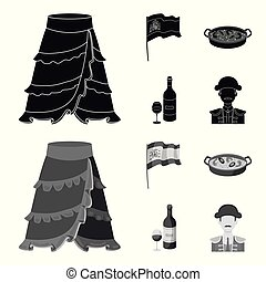 Flag with the coat of arms of Spain, a national dish with rice and tomatoes, a bottle of wine with a glass, a bullfighter, a matador. Spain country set collection icons in black, monochrom style vector symbol stock illustration web.