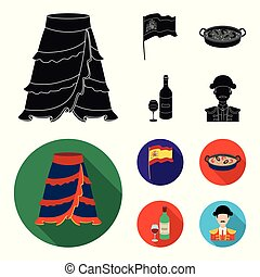 Flag with the coat of arms of Spain, a national dish with rice and tomatoes, a bottle of wine with a glass, a bullfighter, a matador. Spain country set collection icons in black, flat style vector symbol stock illustration web.