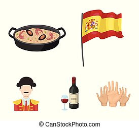 Flag with the coat of arms of Spain, a national dish with rice and tomatoes, a bottle of wine with a glass, a bullfighter, a matador. Spain country set collection icons in cartoon style vector symbol stock illustration web.