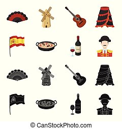 Flag with the coat of arms of Spain, a national dish with rice and tomatoes, a bottle of wine with a glass, a bullfighter, a matador. Spain country set collection icons in black, cartoon style vector symbol stock illustration web.