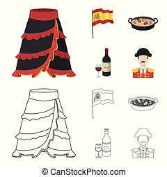 Flag with the coat of arms of Spain, a national dish with rice and tomatoes, a bottle of wine with a glass, a bullfighter, a matador. Spain country set collection icons in cartoon, outline style vector symbol stock illustration web.