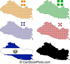 El Salvador - Flag,contour and pixel outline of El Salvador.
