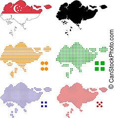 Singapore - Flag,contour and pixel outline of Singapore.