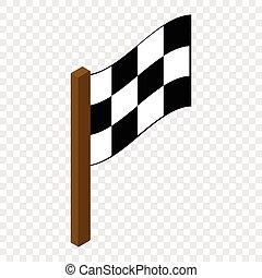flagga, 3, tävlings-, isometric, ikon