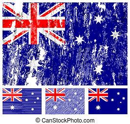 flagga, australien, grunge, sätta