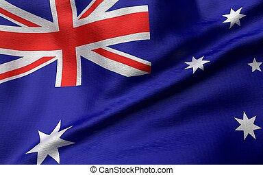 flagga, australien, illustration, 3