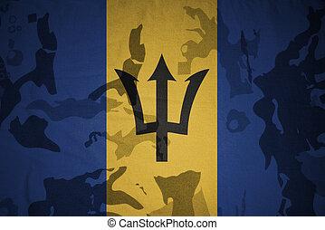 flagga, av, barbados, på, den, kaki, struktur, ., militär, begrepp