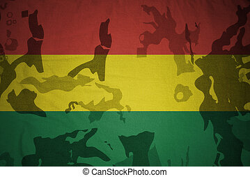 flagga, av, bolivia, på, den, kaki, struktur, ., militär, begrepp