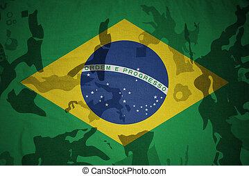 flagga, av, brasilien, på, den, kaki, struktur, ., militär, begrepp