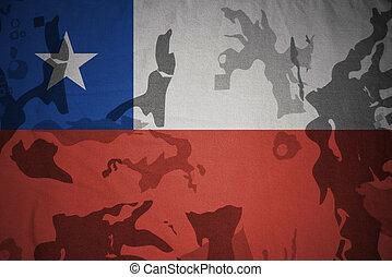 flagga, av, chile, på, den, kaki, struktur, ., militär, begrepp