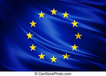 flagga, av, den europeisk union
