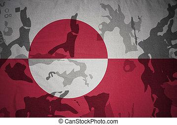 flagga, av, grönland, på, den, kaki, struktur, ., militär, begrepp