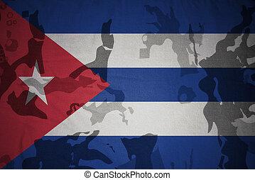 flagga, av, kuba, på, den, kaki, struktur, ., militär, begrepp