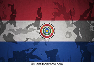 flagga, av, paraguay, på, den, kaki, struktur, ., militär, begrepp