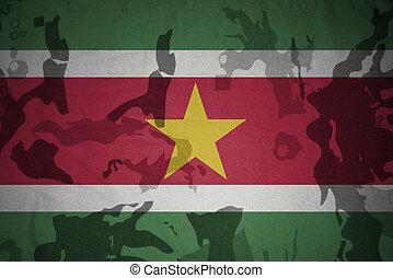 flagga, av, surinam, på, den, kaki, struktur, ., militär, begrepp
