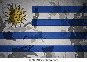 flagga, av, uruguay, på, den, kaki, struktur, ., militär, begrepp