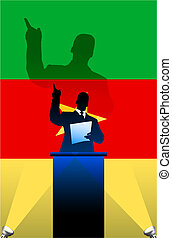 flagga, bak, politisk, podium, högtalare, camerun