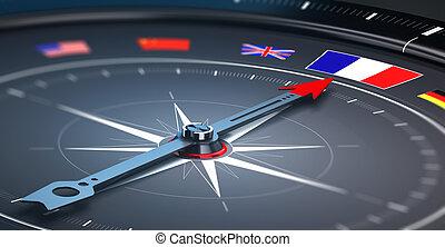 flagga, begrepp,  -, fokusera, Frankrike