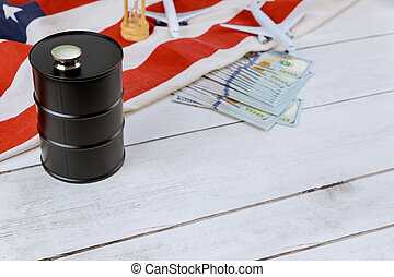 flagga, begrepp, papper, modell, valuta, pris, plan, cistern, olja pipa, airplane, resning, oss, behållare, industri, usa