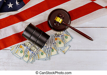 flagga, begrepp, pappers- valuta, pris, domare, cistern, trumma, showdowns, olja, domstol, oss, resning, trä, usa, industri, behållare, hammare