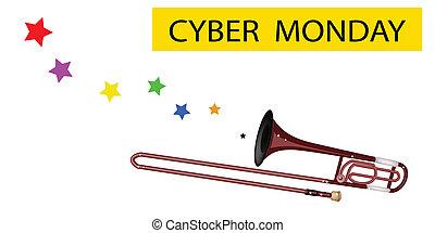 flagga, blåsning, cybernetiska, trombon, måndag, symphonic