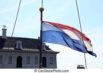 flagga, gammal, skepp, nederländsk